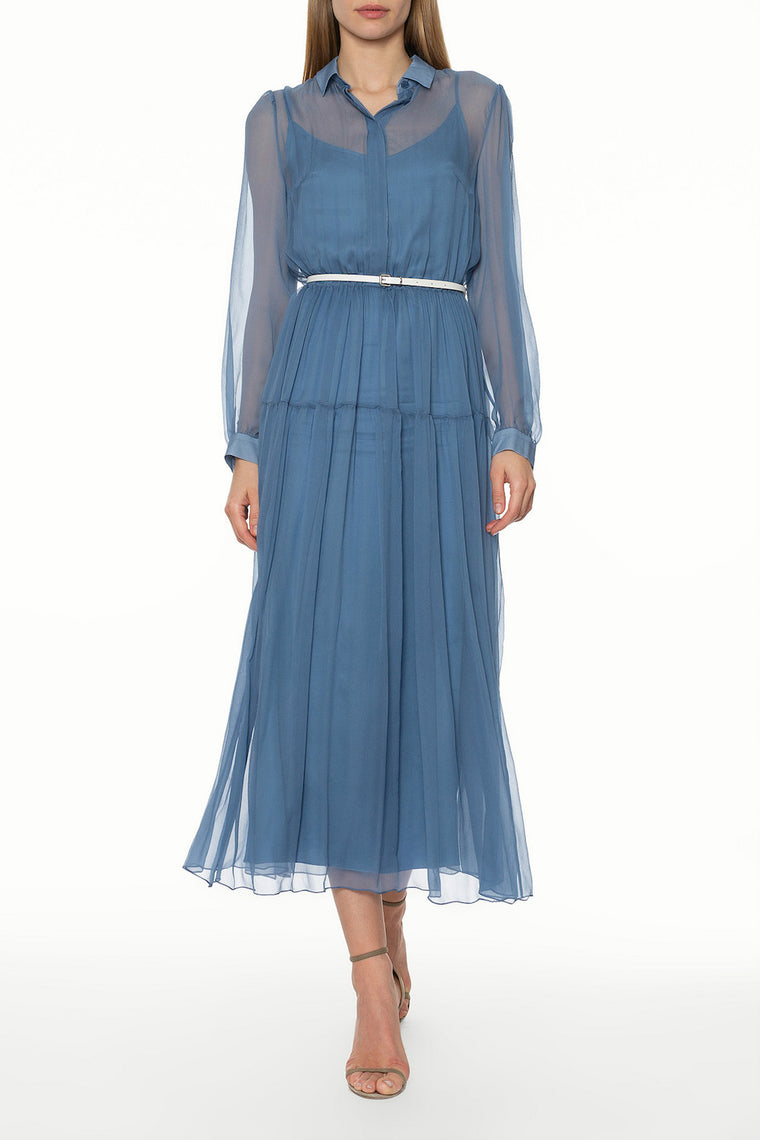 Silk-chiffon long sleeve midi dress