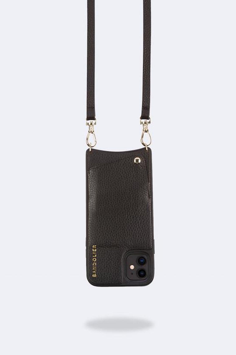 Emma Pebble leather crossbody bandolier Black/Gold
