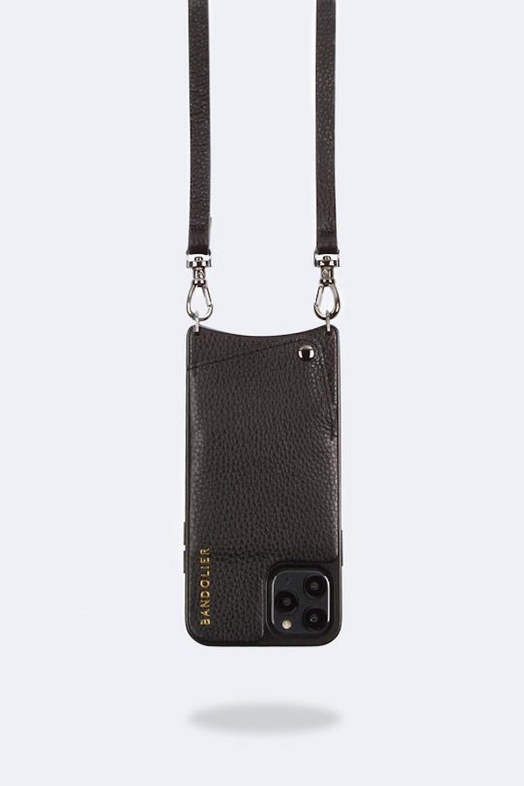 Emma Pebble leather crossbody bandolier Black/Pewter