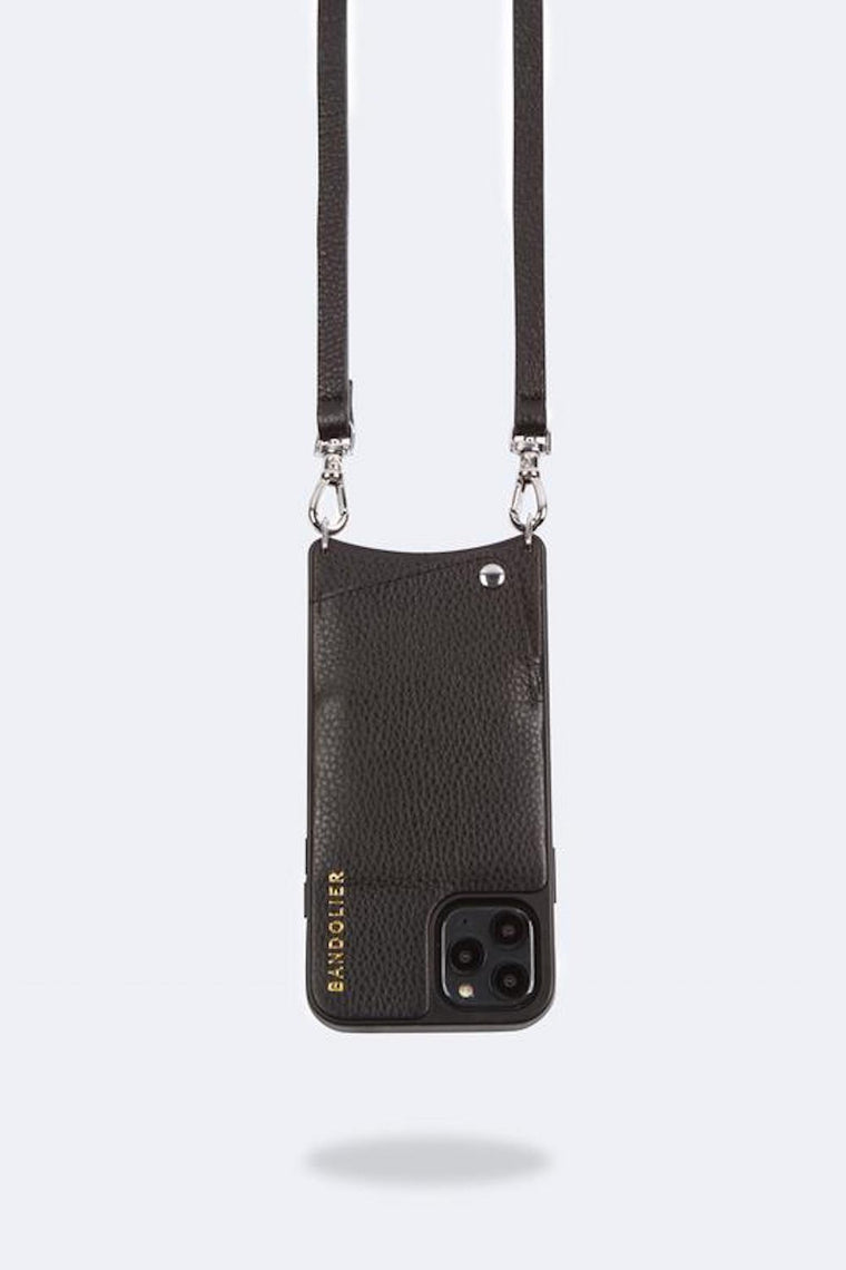 Emma Pebble leather crossbody bandolier Black/Silver