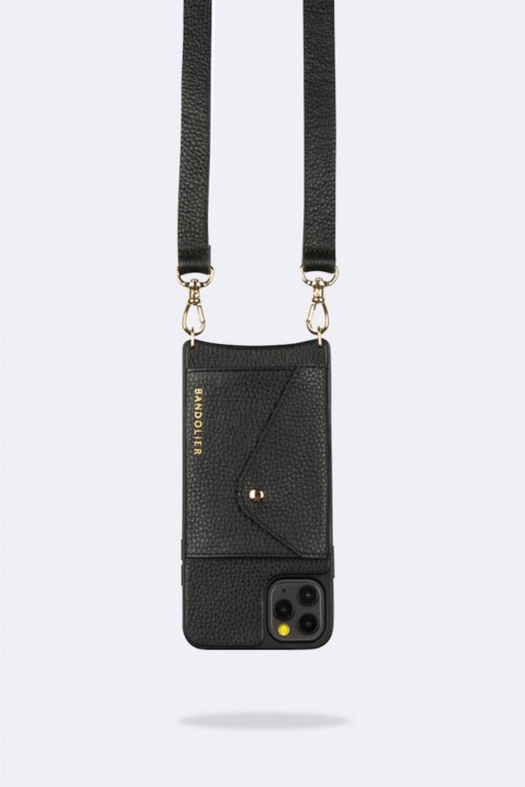 Hailey Side Slot Leather crossbody bandolier Black/Gold
