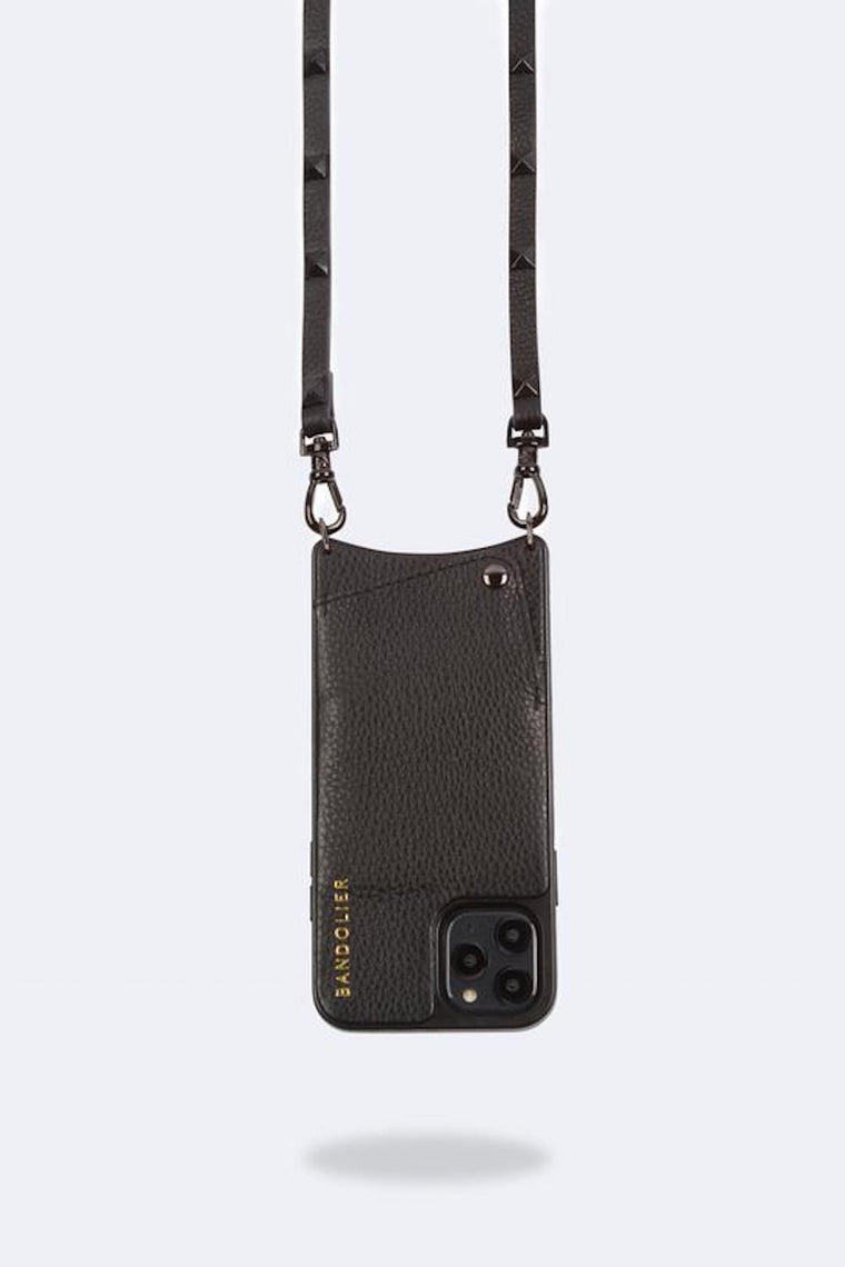 Sarah Pebble leather crossbody bandolier Black/Pewter