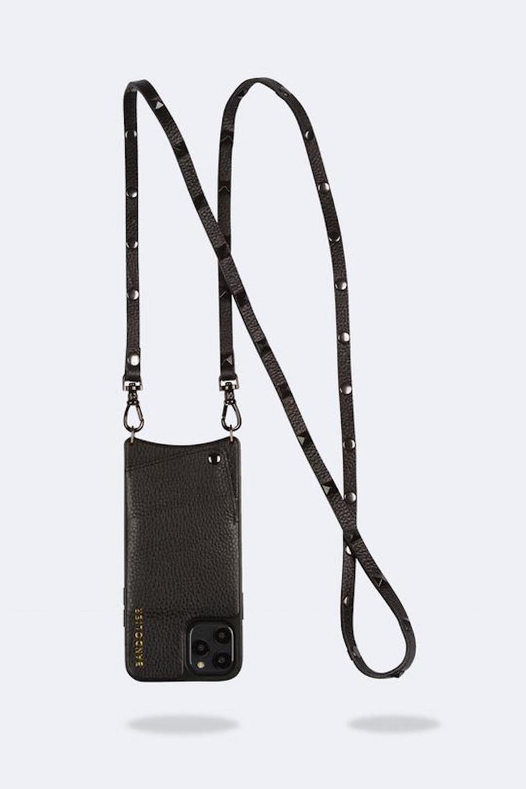 Sarah Pebble leather crossbody bandolier Black/Pewter - Bags - Bandolier - SELFIE STORE BARCELONA S.C.P.