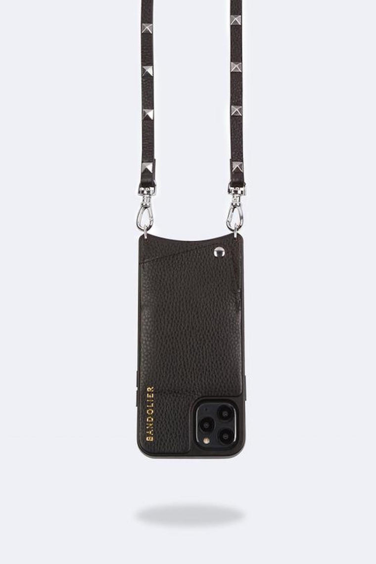 Sarah Pebble leather crossbody bandolier Black/Silver
