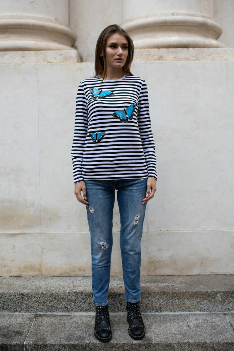 Embellished striped cotton-blend shirt