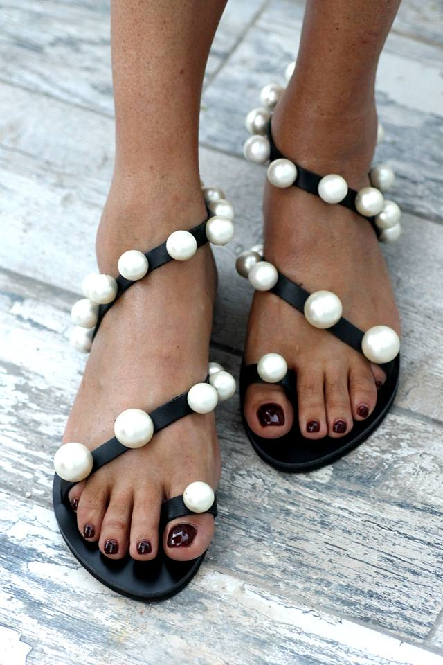Faux-pearl studded leather sandals