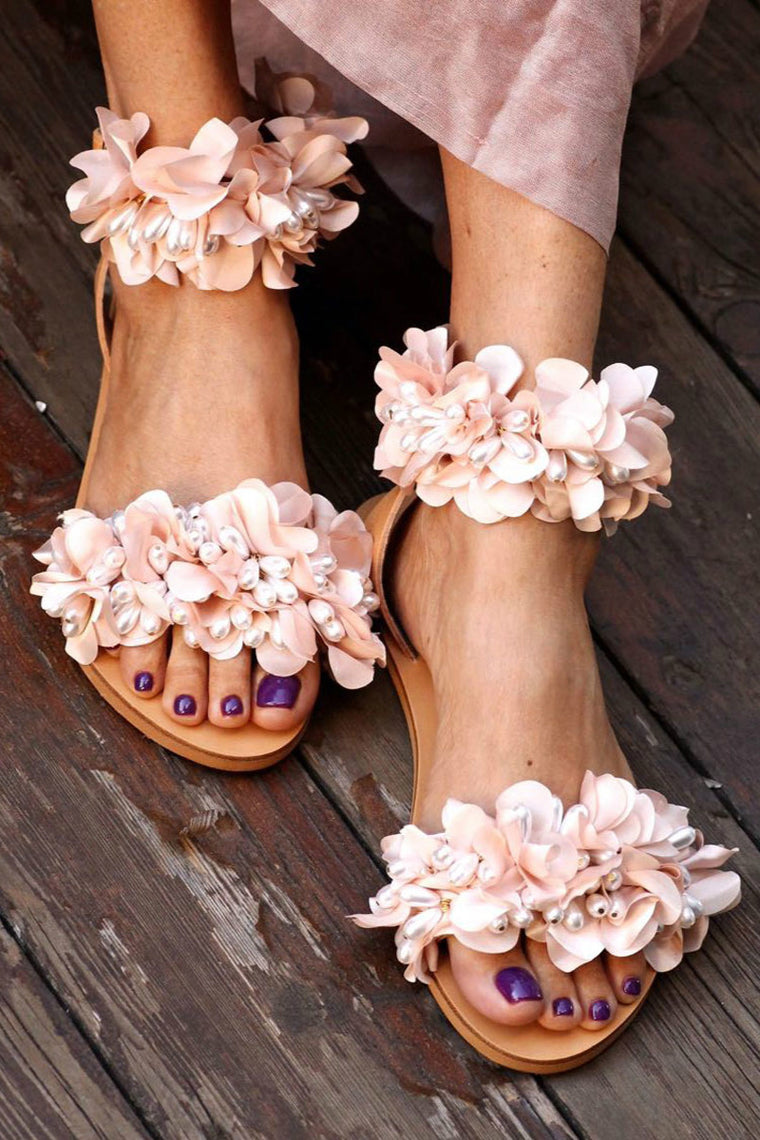 Flower embellished leather sandals