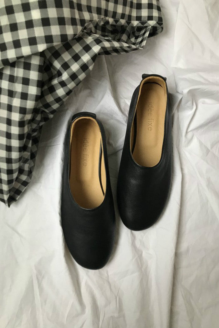 Leather glove flats Black