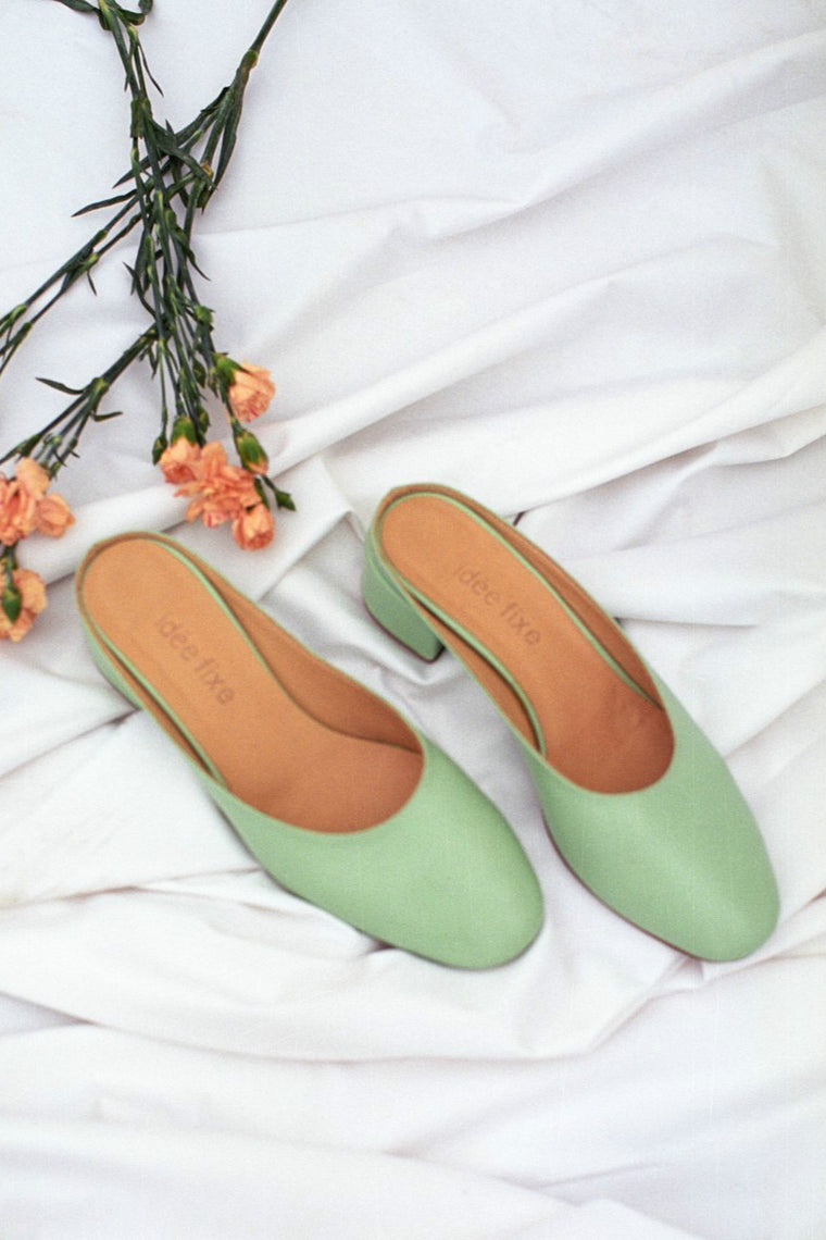 Leather mules Pauline Lime