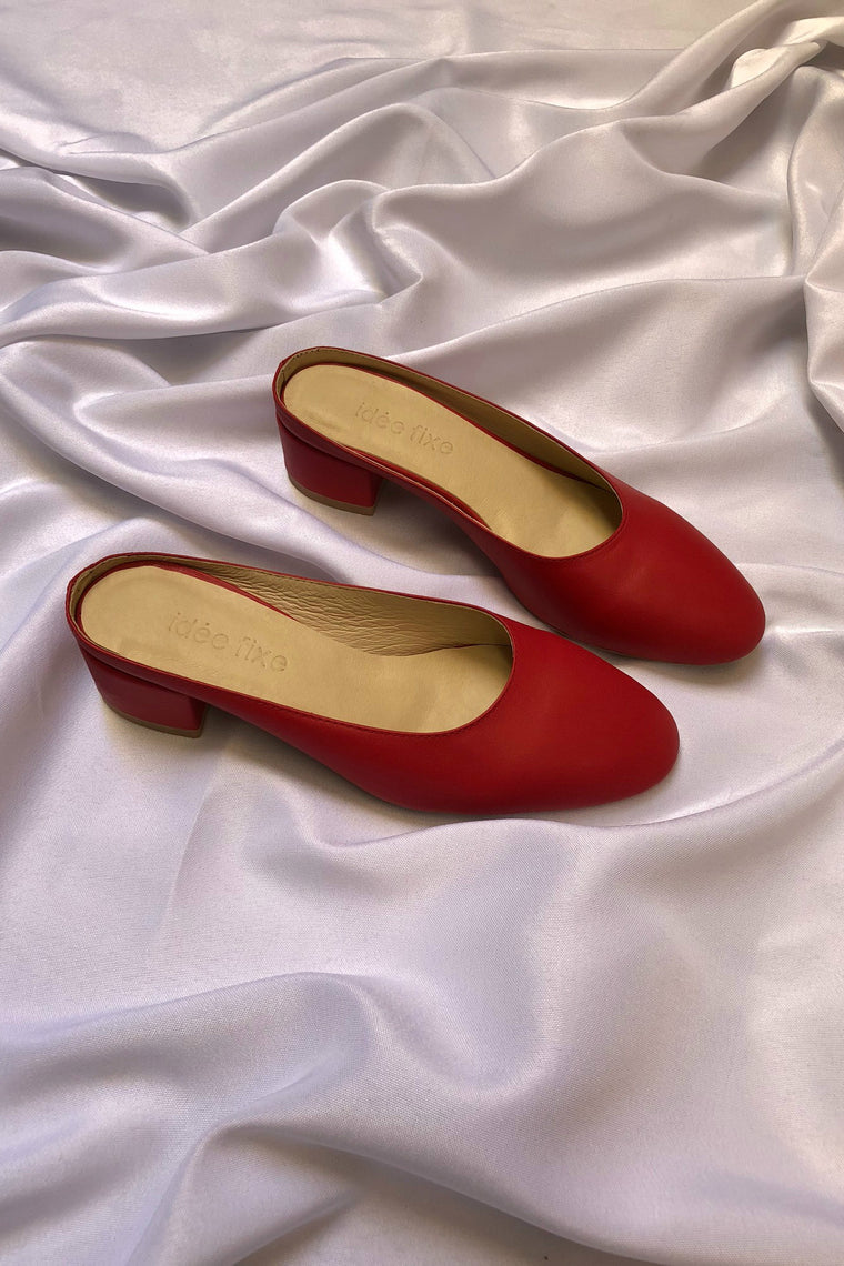 Leather mules Pauline Red