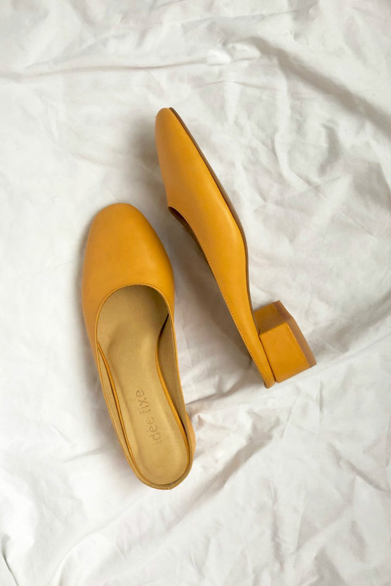 Leather mules Pauline Yellow