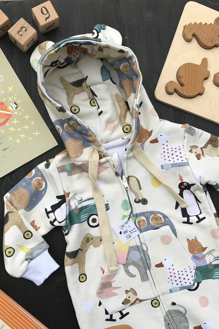 Kids Hooded overall Retro Toys