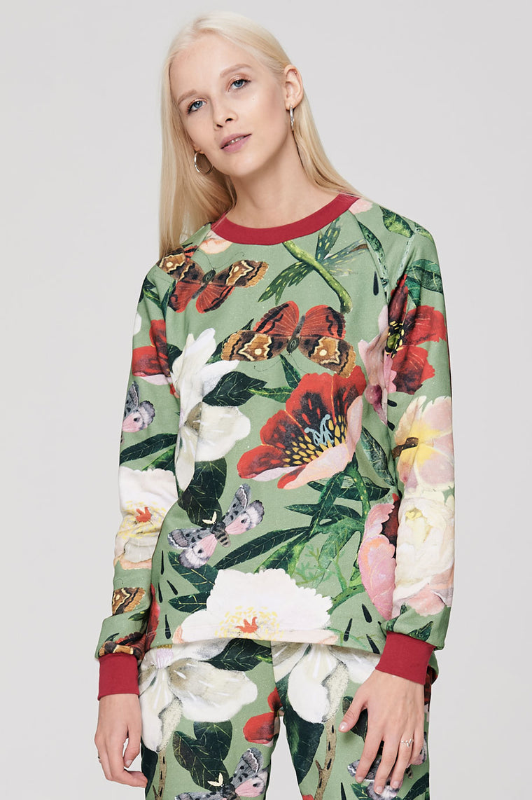 Raglan sleeve sweatshirt Peonies on Green