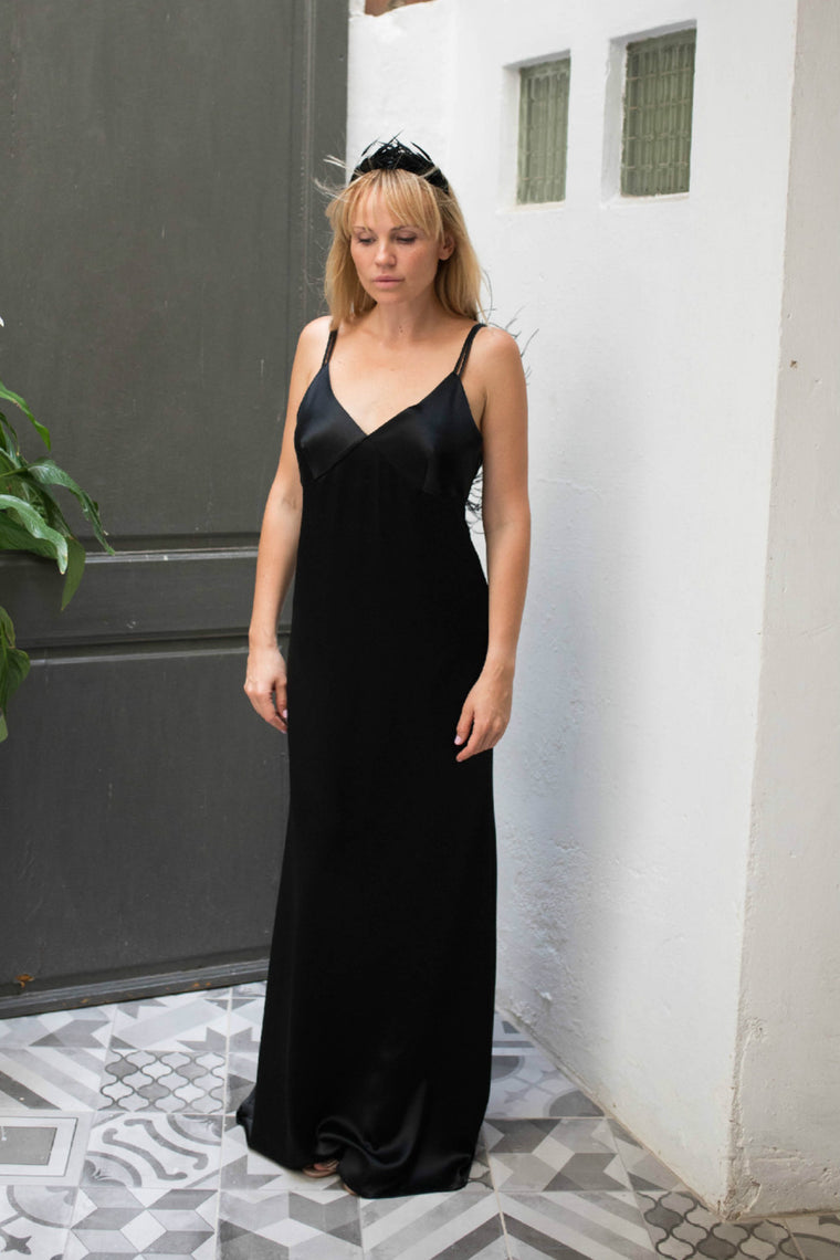 Feather-trimmed satin long slip dress