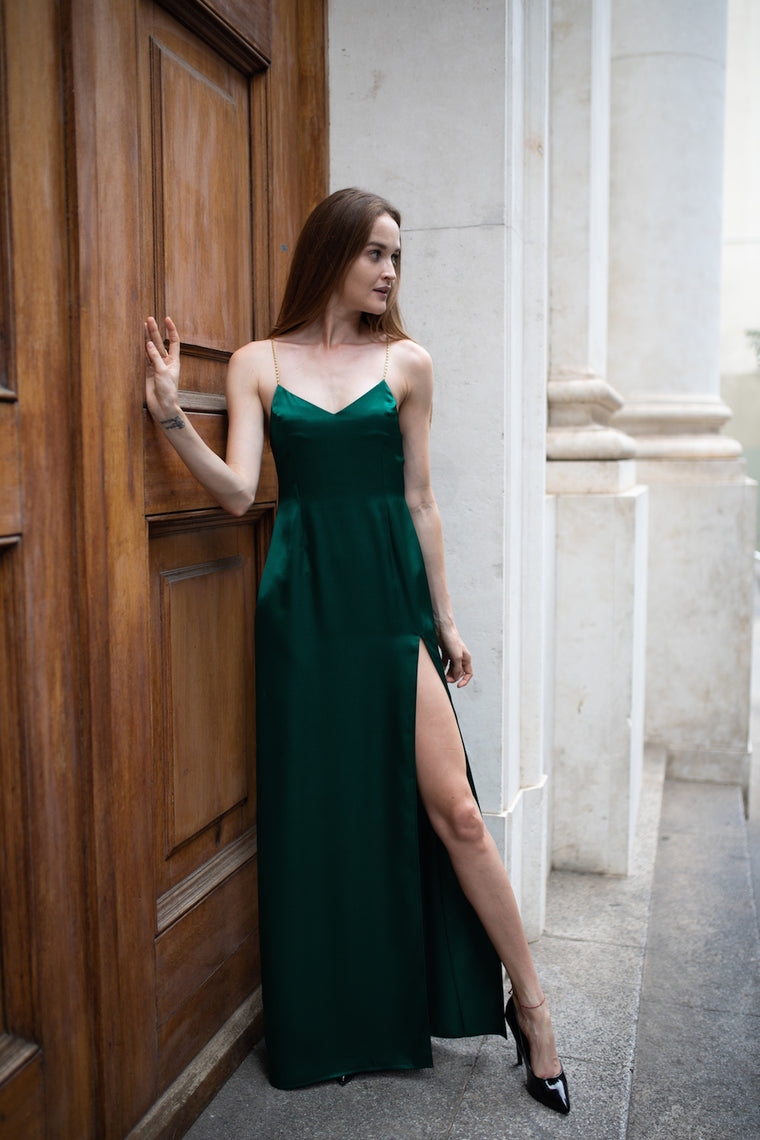 Satin slip long dress Emerald