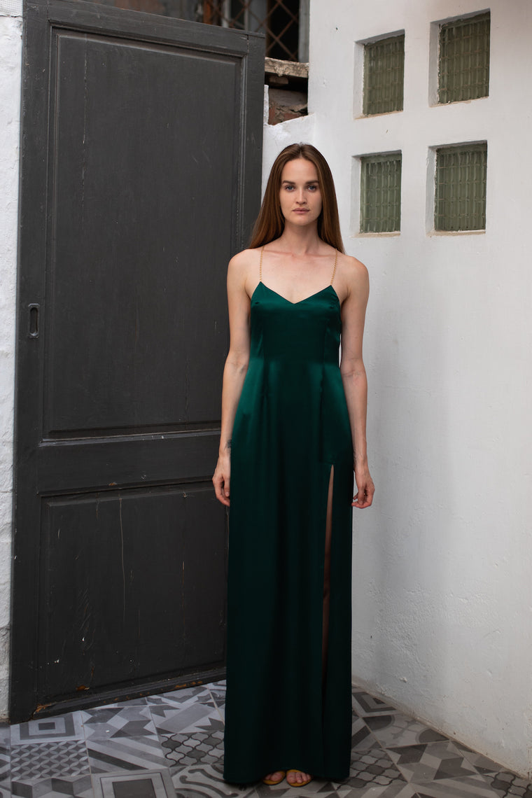 Satin slip long dress Emerald - Dresses - Katherineti - SELFIE STORE BARCELONA S.C.P.