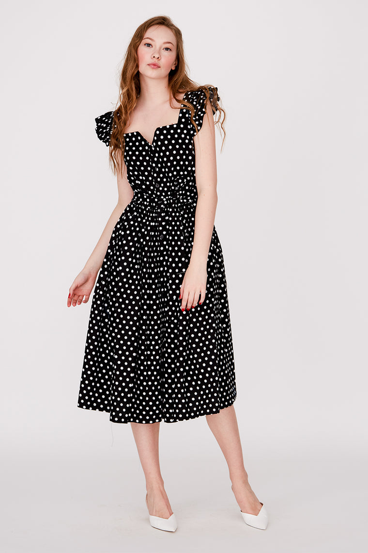 Black cotton polka dots midi dress