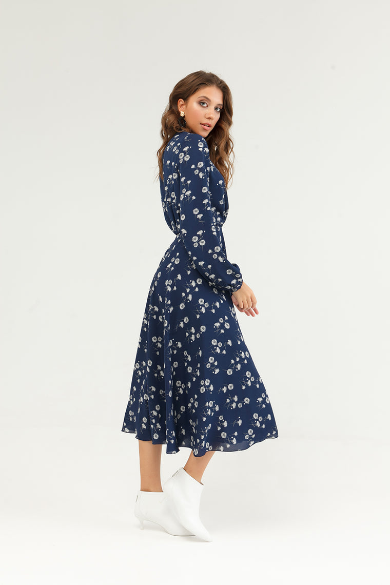 Blue floral midi dress with long sleeve - SELFIE STORE BARCELONA, SL