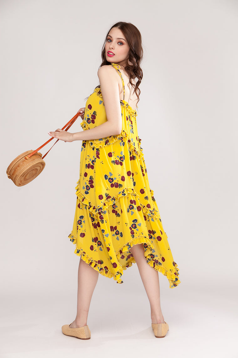 Floral midi dress with self-tie shoulder straps