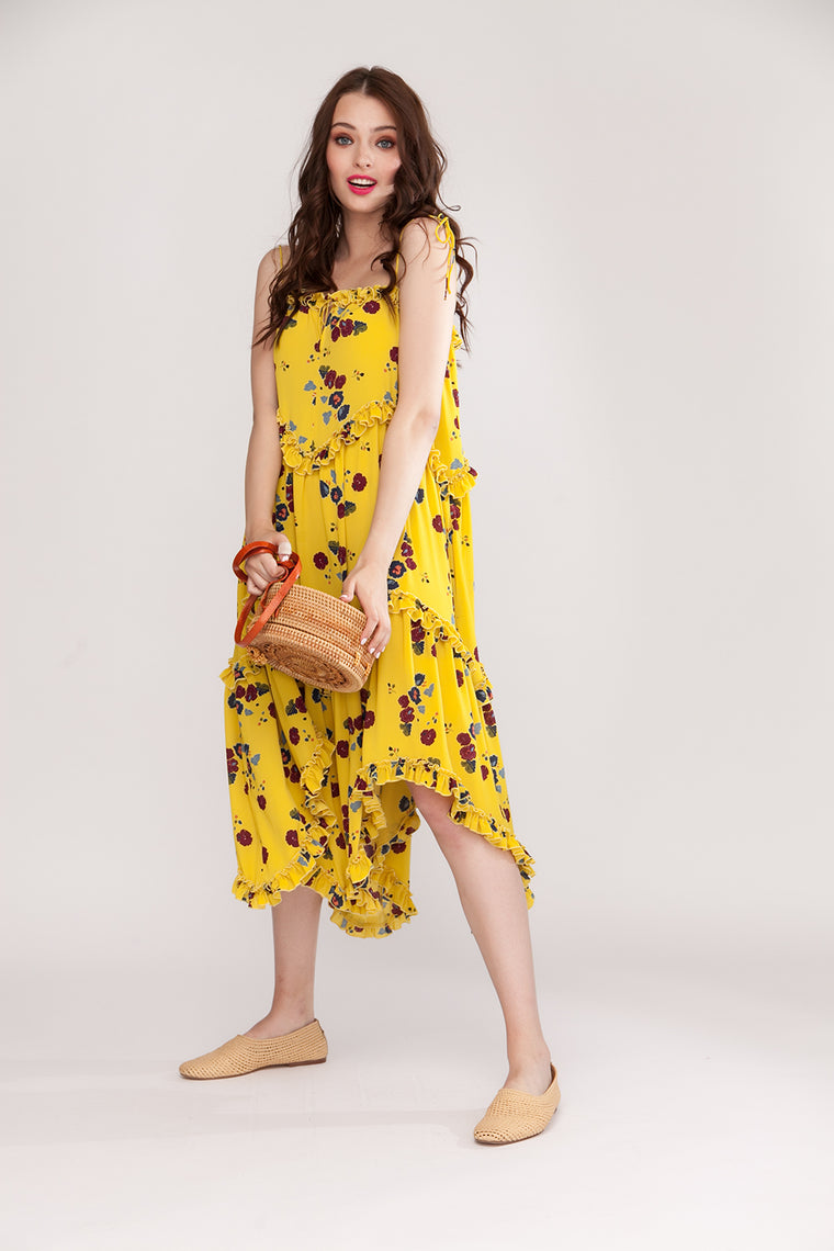 Floral midi dress with self-tie shoulder straps - SELFIE STORE BARCELONA, SL