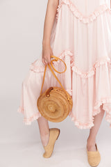 Silk-blend midi dress with self-tie shoulder straps Pale pink - Dresses - LN Family - SELFIE STORE BARCELONA S.C.P.
