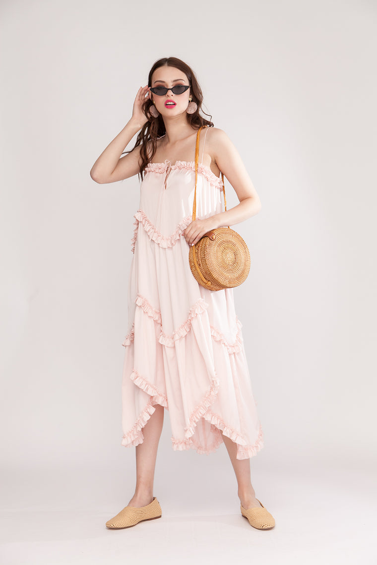 Silk-blend midi dress with self-tie shoulder straps Pale pink
