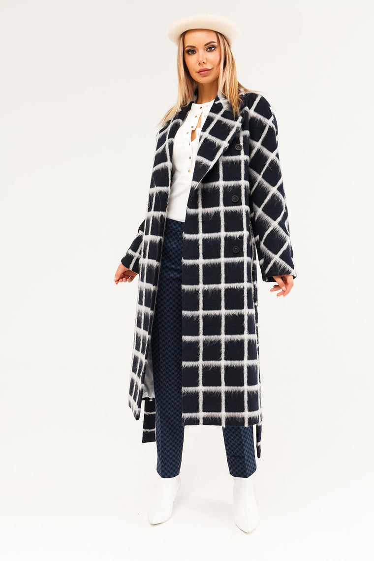 Checked wool and cashmere coat