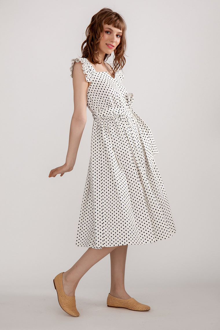 White linen midi dress with polka dots print