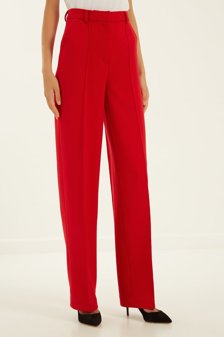 Classic high-waisted crepe trousers