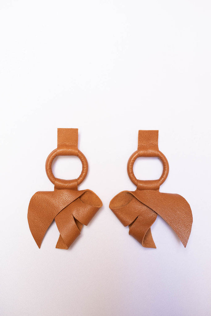 Leather large bow drop earrings - Jewelry - LovoA - SELFIE STORE BARCELONA S.C.P.
