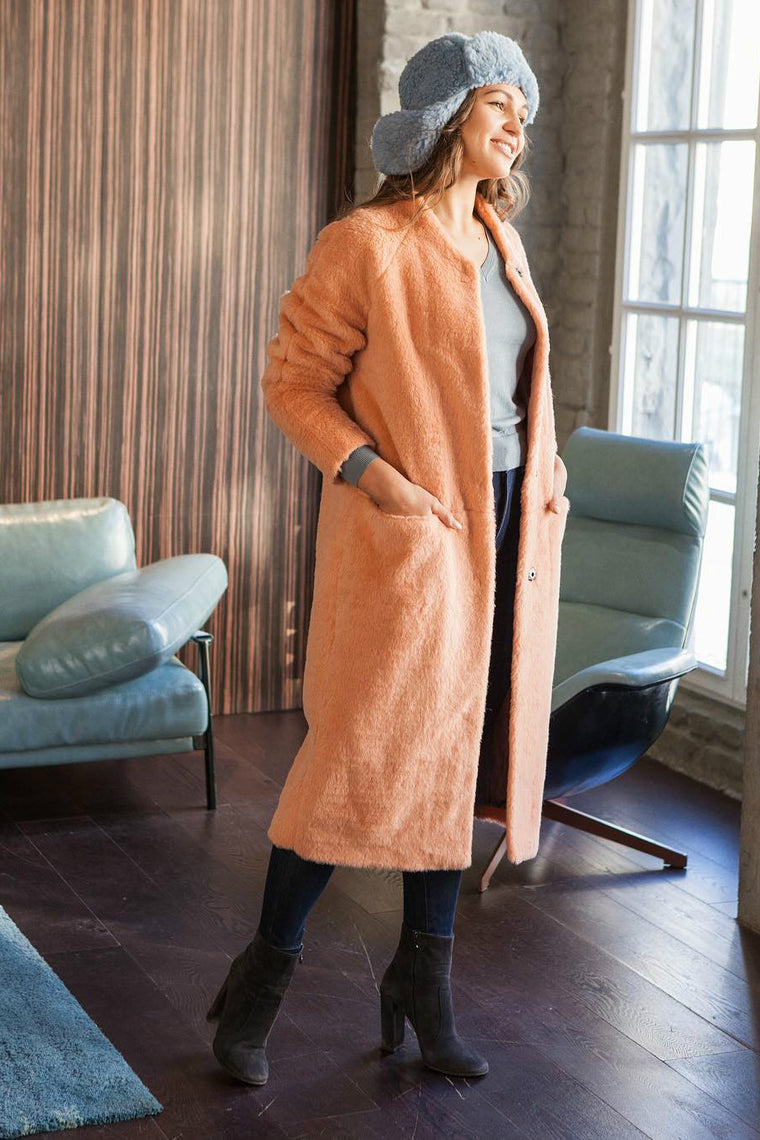 Sheared wool coat Peach