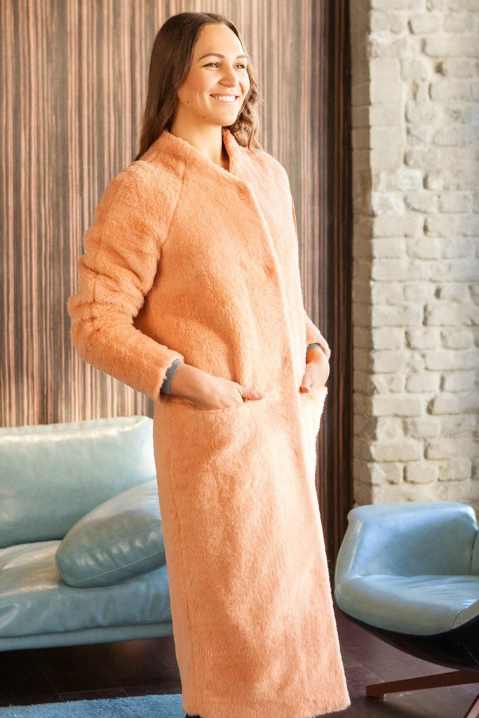 Sheared wool coat Peach - SELFIE STORE BARCELONA, SL
