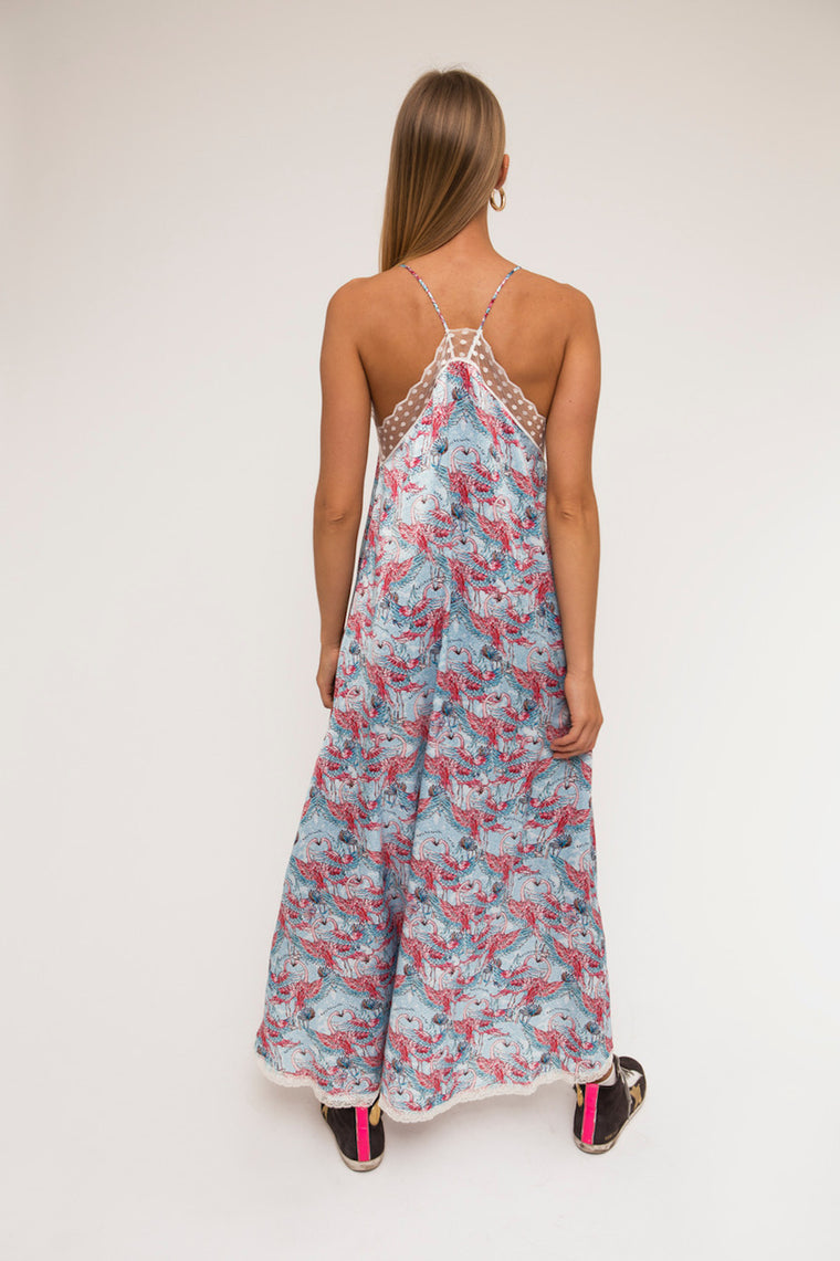 Cold-shoulders maxi slip dress Flamingo