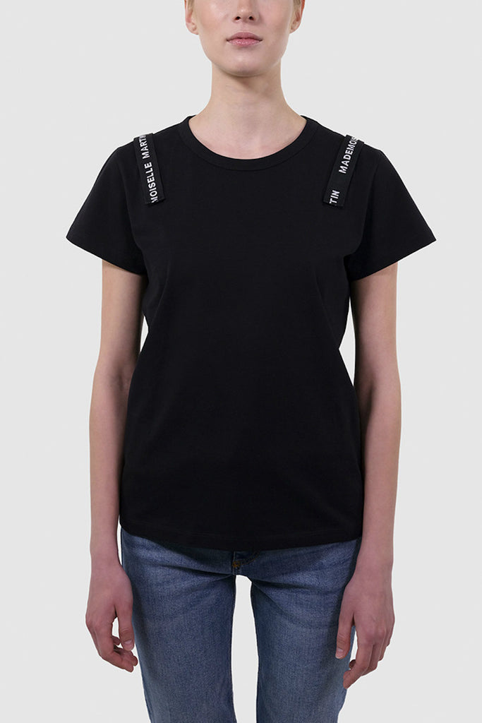 Cotton T-Shirt with logo shoulder bands - Tops - MADEMOISELLE MARTIN - SELFIE STORE BARCELONA S.C.P.