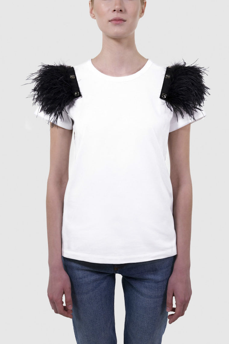Feather shoulder pads