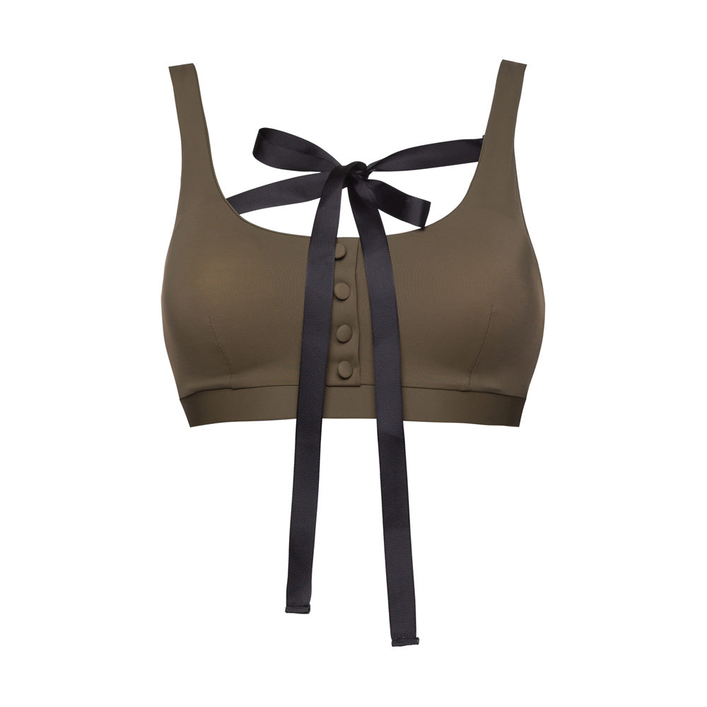 Bikini top with a bow Khaki