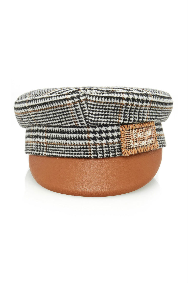 Plaid brown wool baker boy hat with embroidery