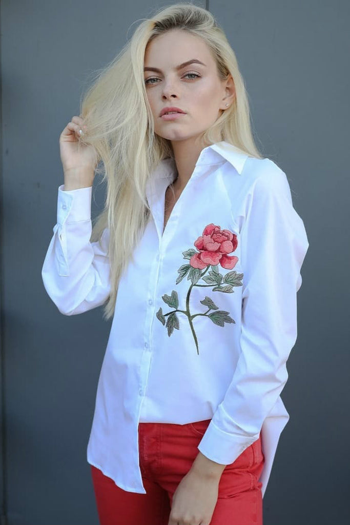 Embroidered cotton-blend shirt Rose - SELFIE STORE BARCELONA, SL