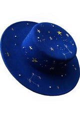 Blue wool Constellation hat with handmade embroidery - SELFIE STORE BARCELONA, SL