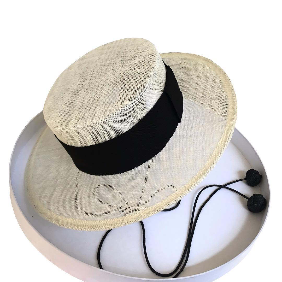 White straw Canotier hat with Black Ribbon and Tie - Hats - Ruslan Baginskiy - SELFIE STORE BARCELONA S.C.P.