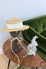 Straw Canotier hat with white ribbon and beads - Hats - Ruslan Baginskiy - SELFIE STORE BARCELONA S.C.P.