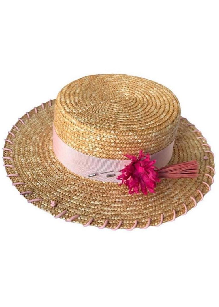 Straw Canotier hat with pink ribbon and flower brooch