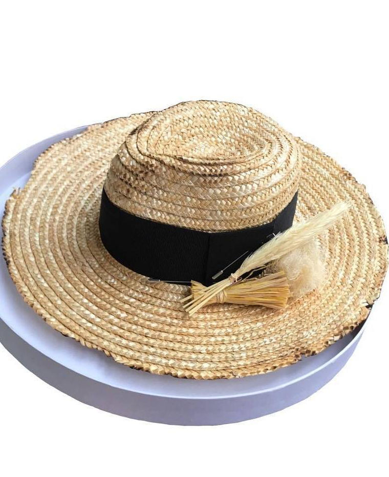Straw Fedora Hat with Black Ribbon and brooch