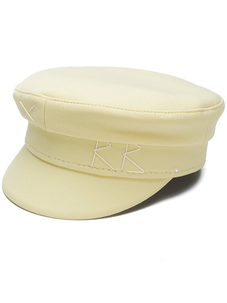 Pale yellow cotton embroidered greek fishermans hat - SELFIE STORE BARCELONA, SL