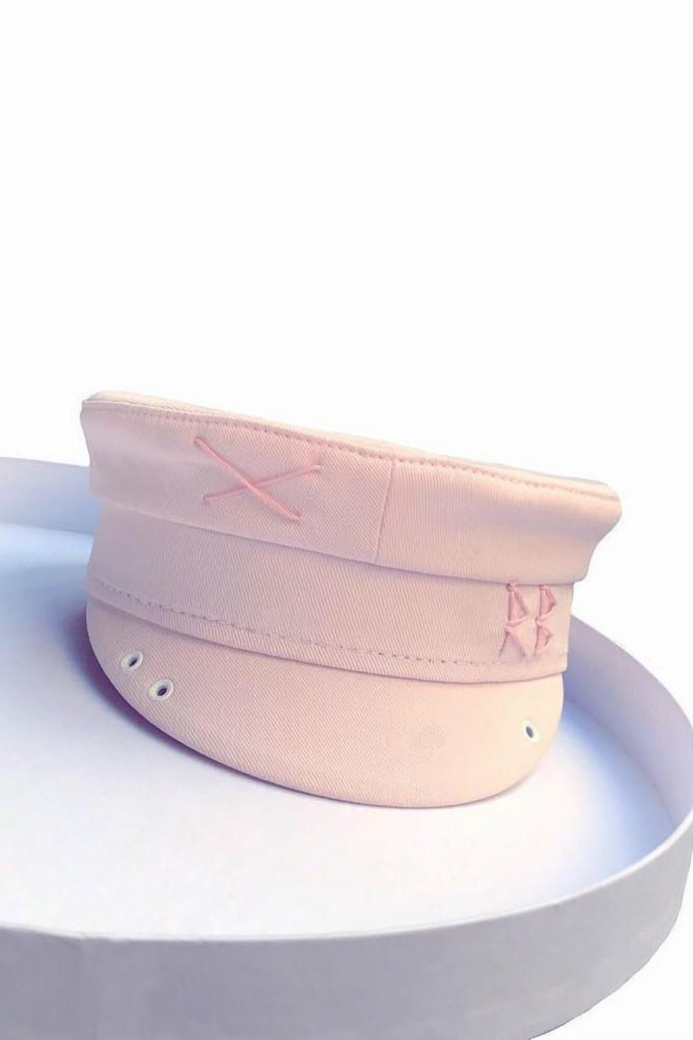 Pink cotton baker boy hat with embroidery – Selfie Barcelona d304eb69244