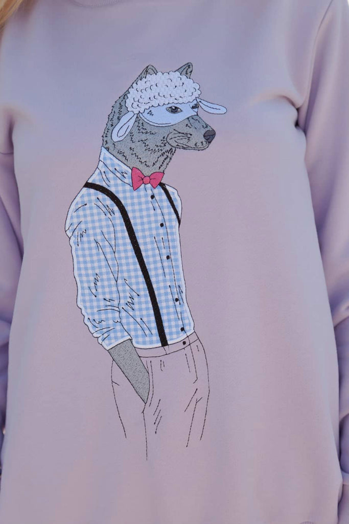 Appliquéd cotton sweatshirt Wolf in a Mask - Tops - Steam Tailor - SELFIE STORE BARCELONA S.C.P.