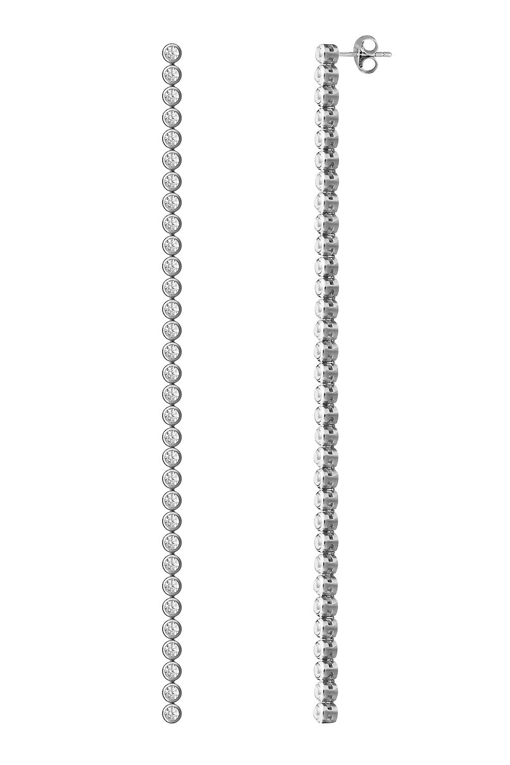 Sterling silver linear drop earrings with cubic zirconia - Jewelry - Wanna Be - SELFIE STORE BARCELONA S.C.P.