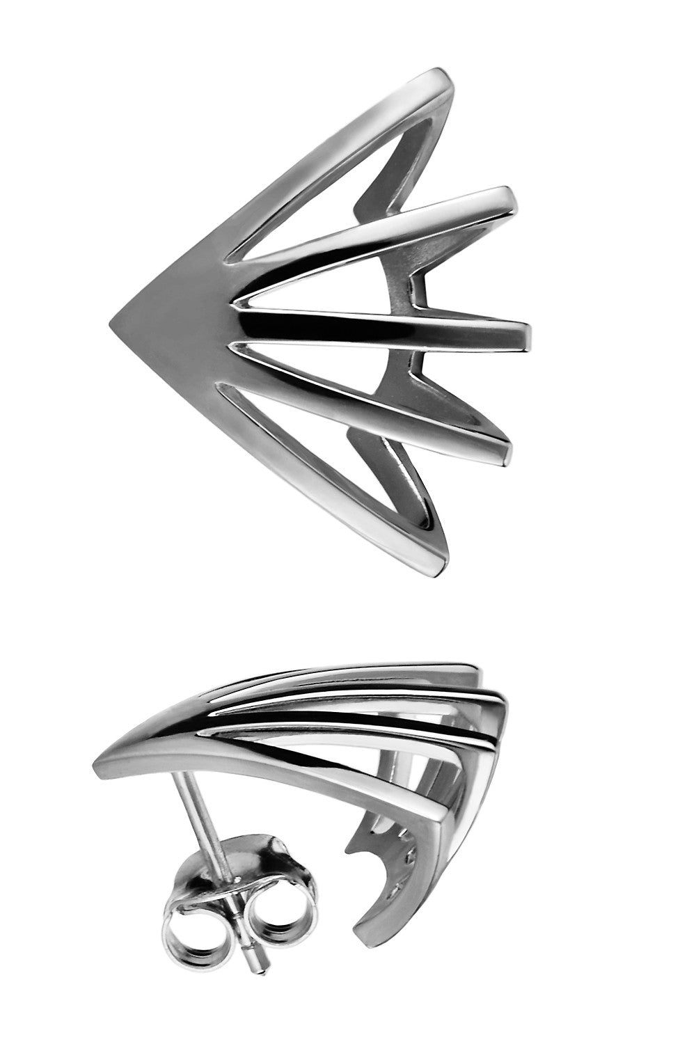 Sterling silver fan shape statement earrings - SELFIE STORE BARCELONA, SL