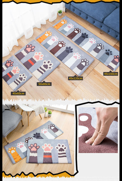 Cute Cat Footprints Anti Slip Rugs