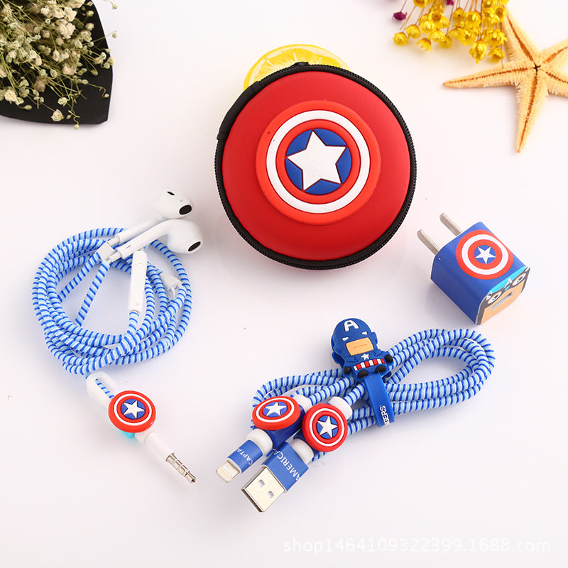 Captain America USB Cable Earphone Protector Set With Earphone Box Cable Winder Stickers Spiral Cord Protector Suitable For Iphone 5, 6, 6s & 7 - FREE SHIPPING